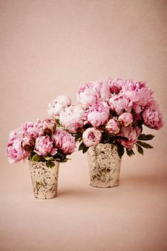 peonies in silver mercury vases - chic, unfussy and beautiful