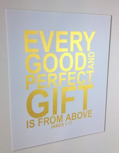 Gold Nursery Bible verse Every good and perfect gift by MiraDoson, $16.00