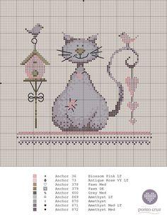 0 point de croix grille et couleurs de fils chat et oiseaux pastel