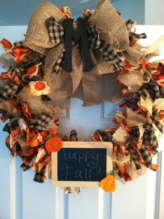 Autumn burlap and chalkboard wreath by JustHangMeUp on Etsy, $75.00