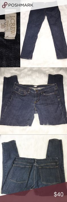 """J. Crew Med-Dark Wash Skinny Cropped Jeans – SZ 30 Excellent skinny cropped (depending on height) jeans by J. Crew.  Medium to Dark wash, size 30.  Mid-rise.  5-pocket style.  Set-in waistband with beltloops.  Zipper fly with button closures.  Cotton Spandex blend for just the right amount of stretch.  Excellent gently used condition and from a smoke free home.   Approximate Measurements: Waist Flat Across – 16"""" Hips Flat Across – 18"""" Thighs Flat Across – 9.5"""" Front Rise – 8"""" Back Rise – 13""""…"""