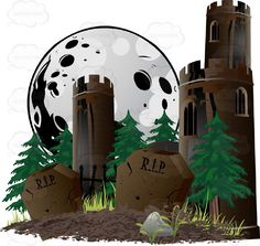 Two Grave Stones Mark A Freshly Dug Grave With Dirt With Brown Castle Turrets Among Pine Trees And Moon Halloween Scene - #autumn #brick #candy #castle #celebration #cemetery #costume #creepy #fall #forest #grave #halloween #haunted #holiday #midnight #october #stone #tower #trickortreat #vector #clipart #stock