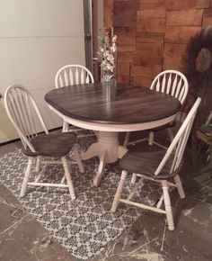 Snow White Milk Paint with Pitch Black Glaze Effect Dining Set | General…
