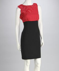 Look at this #zulilyfind! Salmon & Black Polka Dot Ruffle Dress by Jemma Apparel #zulilyfinds