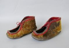 Norway. 1959. Pair of child's boots, sealskin (?), with commercial braiding in red, blue, green and white round the edges and up the back of the heel, and red cotton laces. Body Adornment, Kids Boots, British Museum, Cotton Lace, Shoe Boots, Baby Shoes, Footwear, Pairs, Heels