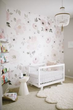 Watercolor Floral Nursery - gorgeous decor + home design. This wallpaper could transition well to a big kid room or even a glam office!