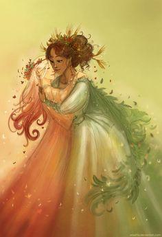 Demeter and Persephone by Arbetta.deviantart.com on @DeviantArt