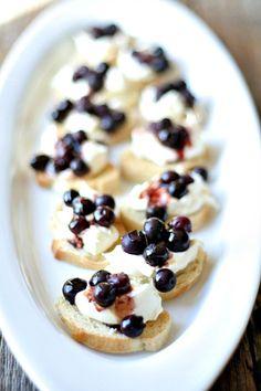 Balsamic Roasted Blueberry and Homemade ricotta Crostini