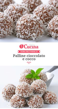 Palline #cioccolato e #cocco Italian Cookies, Italian Desserts, Mini Desserts, Delicious Desserts, Sweet Recipes, Cake Recipes, Dessert Recipes, Biscotti Cookies, Homemade Birthday Cakes