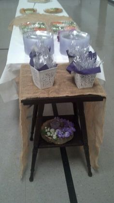 Small table with burlap