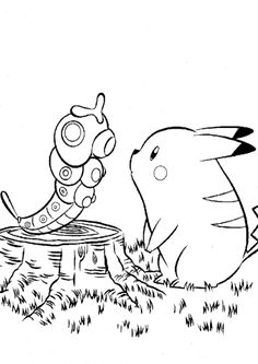 Pikachu And Caterpie Pokemon Coloring Page