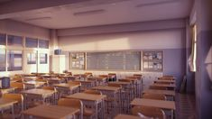 Classroom (Evening B) by iCephei on DeviantArt Anime Classroom, High School Classroom, University High School, Episode Interactive Backgrounds, School Hall, Anime High School, Classroom Background, Us Universities, Science Student