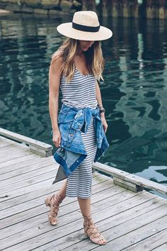 summer outfit, casual outfit, comfy outfit, summer getaway outfit, summer vacation outfit, summer travel outfit, street style, street chic style - straw hat, boater hat, stripe knit midi dress, denim jacket, nude lace up sandals