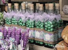 www.kamalion.com.mx - Mesa de Dulces / Candy Bar / Postres / Vintage / Rustic / Baby Shower / Mint & Purple / Menta & morado                                                                                                                                                     Más Candy Table, Candy Buffet, Dessert Buffet, Dessert Bars, Baby Shower, Bridal Shower, Candy Party, Party Favors, Vintage Candy Bars