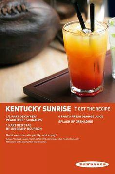 Kentucky Sunrise ( peach schnapps, Red Stag by Jim Beam, orange juice, grenadine)