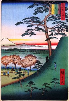 (Japan) Mt Fuji by Utagawa Hiroshige (1797- 1858). 100 Famous views of Edo. woodblock print. ukiyo-e.