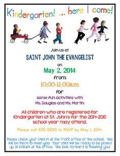 Kindergarten Round Up!! May 2 | Saint John the Evangelist Catholic School