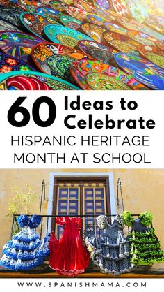 Get awesome ideas and resources for celebrating Hispanic Heritage Month at school or home. Here are over 60 suggestions for decorations crafts bulletin boards movies videos songs books facts and activities! Spanish Heritage, Mexican Heritage, Heritage School, Heritage Crafts, Hispanic Culture, Elementary Spanish, Hispanic Heritage Month, Spanish Culture, Spanish Activities