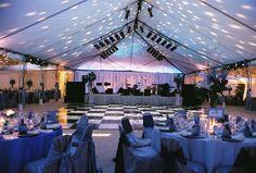 Black & White Marble Dance Floor Inside Tent