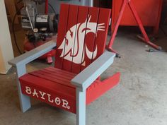 DIY - WSU Cougars toddler Adirondack chair.  Thanks ana-white.com for the plans.