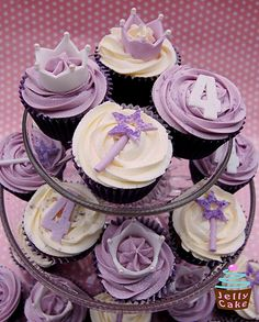 Purple Princess Cupcakes. I would stand up the wands and numbers