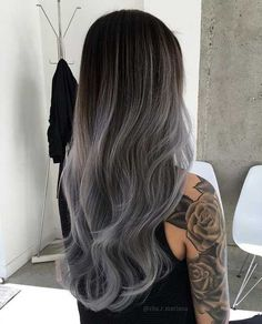 Are you looking for ombre hair color for grey silver? See our collection full of ombre hair color for grey silver and get inspired! Grey Balayage, Short Balayage, Ombre Hair Color, Gray Ombre, Black To Grey Ombre Hair, Pastel Grey, Pastel Hair, Ombre Silver Hair, Dark Silver Hair