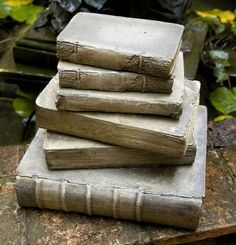 These life-size books, made of concrete by Flat Earth Designs, are cast from actual vintage books so you can read the titles on the spines. These are the ideal ornamental garden pieces for the literary gardener and can be purchased at Nadine Blake, 1036 Royal St. New Orleans, Lousiana