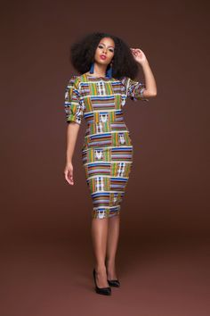 AFRICAN PRINT KENTE LESOTHO MIDI DRESS