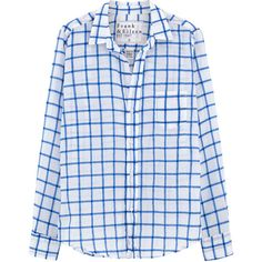 Frank & Eileen Barry Shirt - Blue ($230) ❤ liked on Polyvore featuring tops, blue, blue button down shirt, button up shirts, fitted button up shirts, long sleeve cotton shirt and long-sleeve shirt