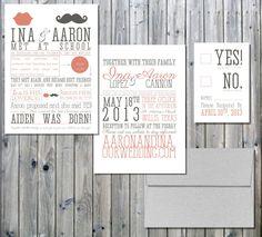 Wedding Invitation Love Story Mustache and Lip Inspired