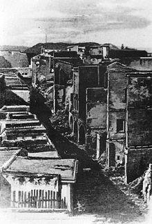 Vue de La Canée en 1897, après l'incendie de la ville par les Turcs