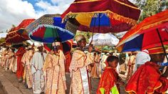 A parade of priests and monks during Timkat in Lalibela, Ethiopia (Carl de Souza/AFP/Getty)