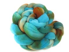 Hand Dyed Roving   Turquoise Orange Brown by flickertailfibers, $16.00