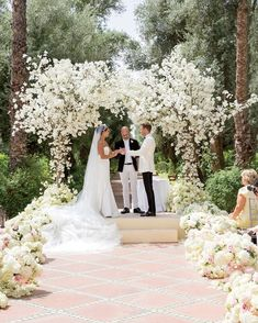 34 Stylish Wedding Aisle Decoration Ideas If you love the look of all-white blooms, this one's for you. At her destination wedding extravaganza in Morocco, Hannah. Wedding Church Aisle, Wedding Ceremony Flowers, Wedding Table, Diy Wedding, Wedding Aisle Outdoor, Trendy Wedding, Wedding Ceremony Arch, Outdoor Wedding Alters, Outdoor Wedding Ceremonies