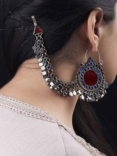Maroon Silver Toned Handcrafted Afghani Metal Earrings at Theloom Indian Jewelry Earrings, Jewelry Design Earrings, Silver Jewellery Indian, Ear Jewelry, Tribal Jewelry, Jewelry Accessories, Silver Jewelry, Silver Ring, Silver Earrings
