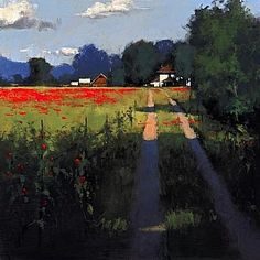 """""""Country Road"""" by Romona Youngquist    dirt road..orange flowers"""