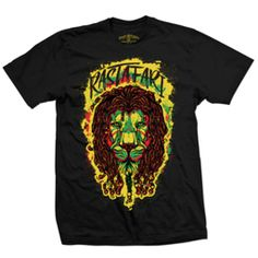This black t-shirt features a dreadlocked Rasta Lion of Judah. The Rasta lion is framed in a splattering of Green, Gold, and Red paint with Rastafari knocked out at the top of the design. This is an original RastaEmpire design. Bob Marley T Shirts, Rasta Lion, Bathing Suits Hot, Rasta Colors, Lion Of Judah, Cool Things To Buy, Rasta Clothing, Mens Tops, How To Wear