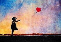 Banksy Balloon Girl Rainbow Sunset B001 | Buy Banksy Balloon Girl ...