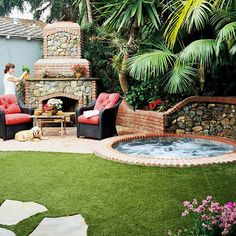 47 Irresistible hot tub spa designs for your backyard - outdoor spa decorating ideas Hot Tub Backyard, Tropical Backyard, Backyard Patio, Backyard Landscaping, Backyard Ideas, Backyard Fireplace, Fireplace Ideas, Landscaping Ideas, Garden Jacuzzi Ideas