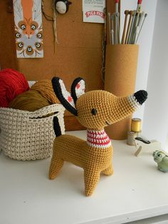 crochet dog and basket