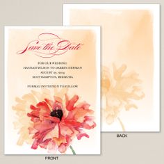Orange Watercolor Poppy Save the Date Card | #exclusivelyweddings