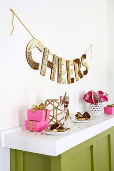 DIY Sequin letter garland for a holiday party.