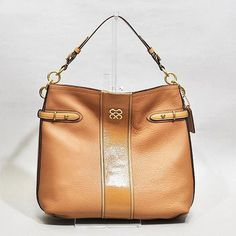 Coach Colette Leather Stripe Hobo Bag in camel ..my new purse :)