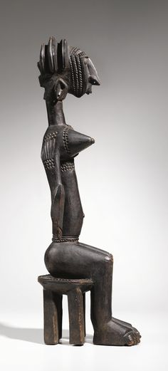 """Bamana Seated Female Figure, Mali, attributed to the """"Master of the Raptor Profile"""" 
