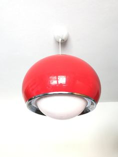 Vintage Large Meblo Guzzini Space Age Ceiling Lamp // Pendant Light // Red Guzzini Lamp // 1970's // by AnExpiryDate on Etsy