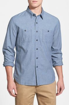 $89, Blue Chambray Long Sleeve Shirt: Red Fleece Collection Modern Fit Chambray Sport Shirt by Brooks Brothers. Sold by Nordstrom. Click for more info: http://lookastic.com/men/shop_items/37009/redirect