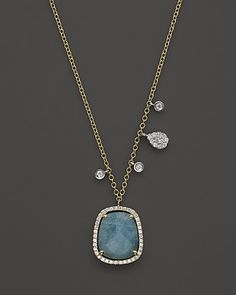 Meira T 14K Yellow & White Gold Milky Aquamarine Diamond Necklace, 16"