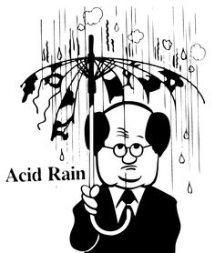 This shows Acid Rain because by showing the umbrella being eaten by the acids