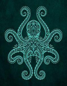 Intricate Teal Blue Octopus Art Print