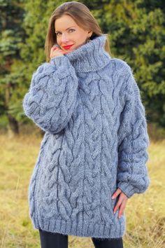 Grey handmade mohair sweater chunky thick wool hand knitted turtleneck jumper #SuperTanya #TurtleneckMock